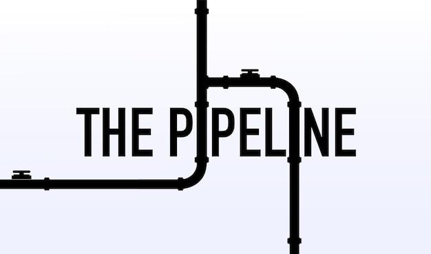 Szablon banera internetowego przemysłowe tło z żółtym rurociągiem woda lub gazociąg w