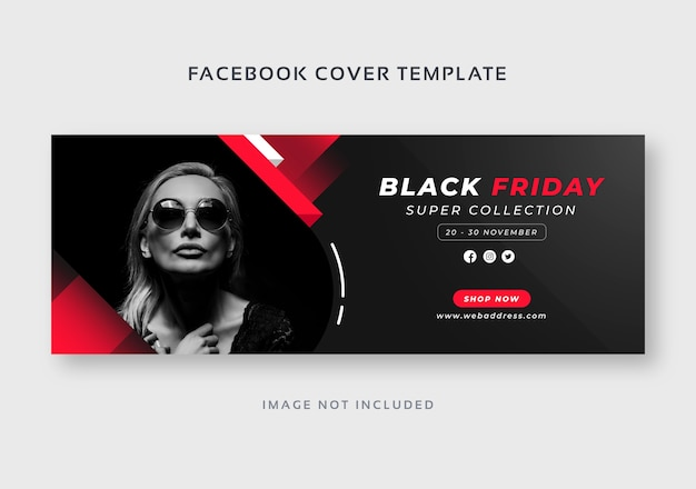 Szablon banera internetowego w czarnym piątek na facebooku