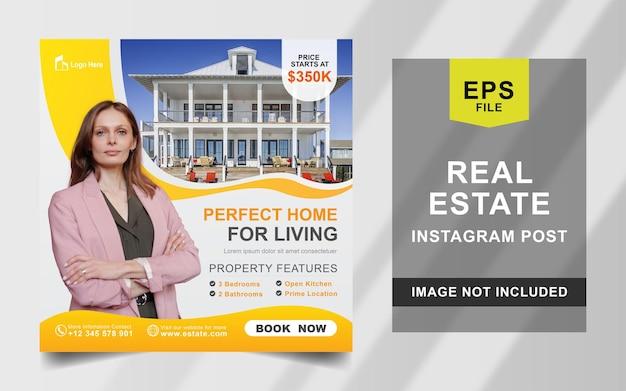 Szablon banera kwadratowego dla domu nieruchomości na instagram