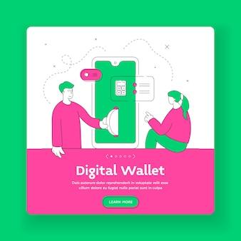 Szablon banera kwadratowego portfela cyfrowego odpowiedni do publikowania w sieci społecznościowej. mężczyzna i kobieta przelewają pieniądze i liczą finanse przy użyciu nowoczesnego smartfona. ilustracja płaski