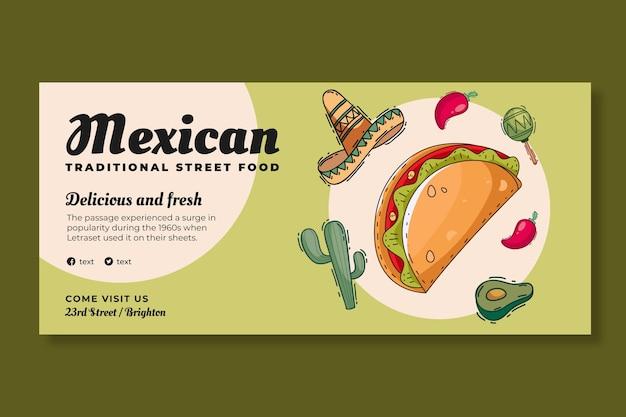 Szablon banera meksykańskiego jedzenia