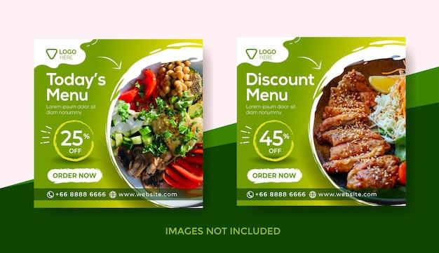 Szablon banera menu żywności lub szablon postu w mediach społecznościowych lub pyszny szablon banera menu