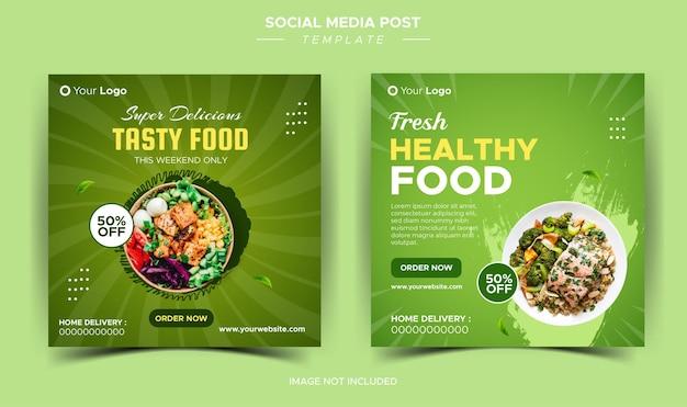 Szablon banera na media społecznościowe z postem na instagramie i ulotką spożywczą