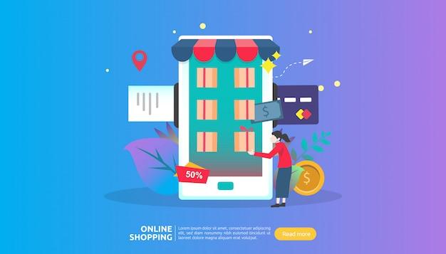 Szablon banera na zakupy online. koncepcja biznesowa na sprzedaż e-commerce.