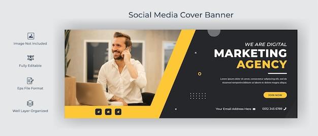 Szablon banera okładki agencji cyfrowej na facebooku na osi czasu