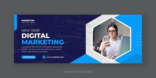 Szablon banera okładki mediów społecznościowych z agencji marketingu cyfrowego