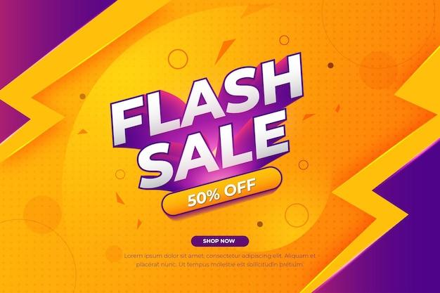 Szablon banera sprzedaży flash w kolorze pomarańczowym i fioletowym