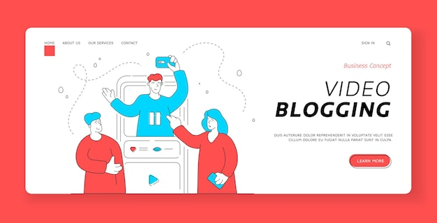 Szablon banera strony docelowej blogowania wideo. współczesny mężczyzna i kobieta razem oglądają popularny vlog online. ilustracja płaski, cienka linia sztuki projektowania