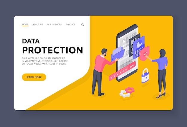Szablon banera strony docelowej ochrony danych. osoby korzystające z chronionych danych na smartfonie. mężczyzna przegląda folder, podczas gdy kobieta sprawdza zainfekowane pliki. ilustracja izometryczna