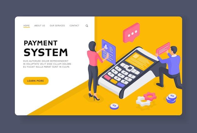 Szablon banera strony docelowej systemu płatności. osoby korzystające z systemu płatności. mężczyzna i kobieta przeglądają dane klienta na współczesnym terminalu reprezentując system płatności. ilustracja izometryczna