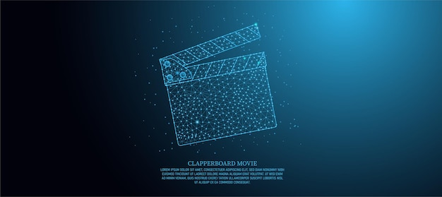 Szablon banera szkieletowego low poly do produkcji folii arkuszowej, robienia filmów, sprzętu do reżyserowania filmów z punktami połączeniowymi. wielostronne otwarte clapboard niebieskie tło