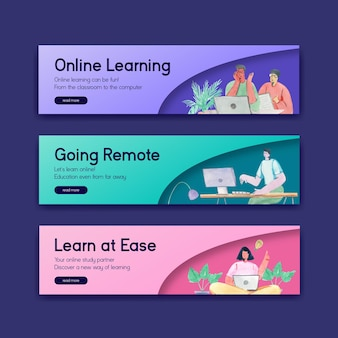 Szablon banera z koncepcją uczenia się online do reklamy i marketingu ilustracji akwareli