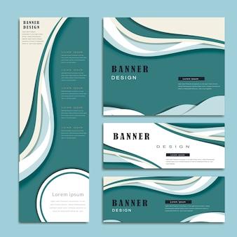 Szablon banera z opływowym projektem w kolorze niebieskim i białym