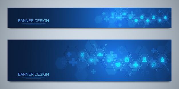 Szablon banerów do dekoracji opieki zdrowotnej i medycznej z ikonami i symbolami. koncepcja technologii nauki, medycyny i innowacji.