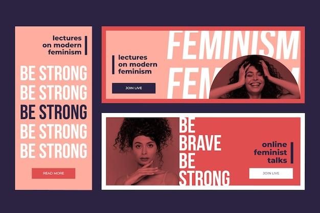 Szablon banerów feminizmu ze zdjęciem