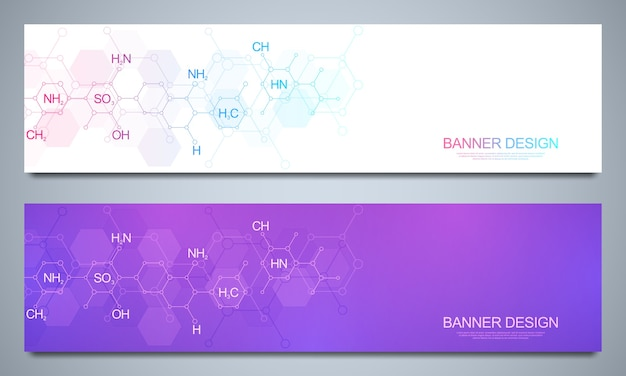 Szablon banerów i nagłówki dla witryny z abstrakcyjnym tłem chemii i wzorami chemicznymi. koncepcja technologii nauki i innowacji. strona dekoracji i inne pomysły.