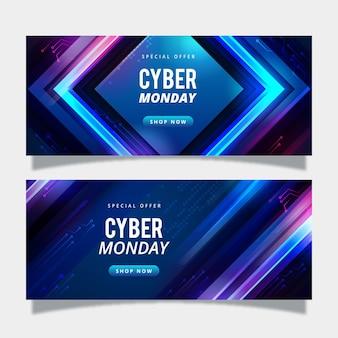 Szablon banerów realistyczny cyber poniedziałek