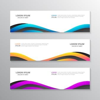 Szablon baneru biznesowego, projekt układu, korporacyjny geometryczny nagłówek sieci w kolorze gradientu