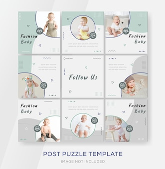 Szablon baneru dla niemowląt z puzzlami post premium