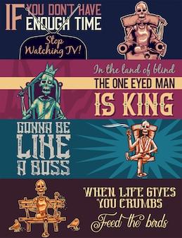 Szablon baneru internetowego z ilustracjami szkieletu na fotelu, tronie, sofie i ławce.