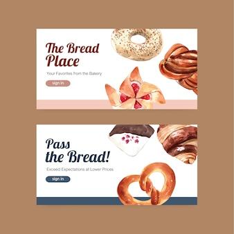Szablon baneru internetowego z przyciskiem logowania i piekarnią ilustracji akwarela