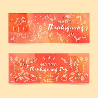 Szablon banery akwarela święto dziękczynienia