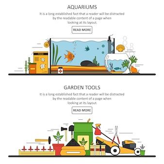 Szablon banery akwarium i narzędzia ogrodowe w stylu płaski. elementy projektu wektorowego