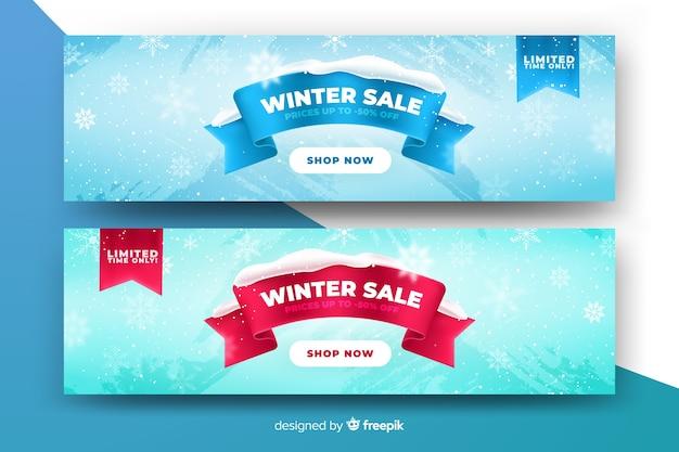 Szablon banery realistyczne sprzedaż zima