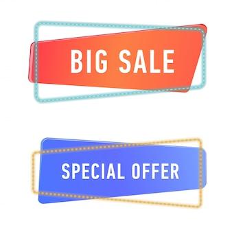 Szablon banery sprzedaży. zestaw znaków promocji i rabatów na białym tle.