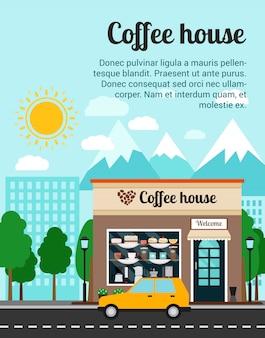 Szablon banner reklamowy domu kawy