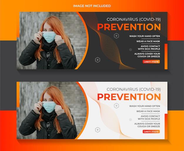 Szablon banner www ostrzeżenie zapobiegające coronavirus covid-19