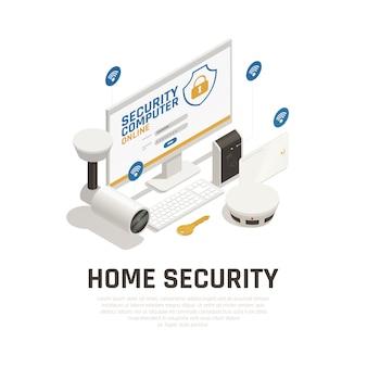 Szablon bezpieczeństwa w domu z systemem nadzoru wideo i alarmem przeciwpożarowym działającym online przez usługę wi-fi