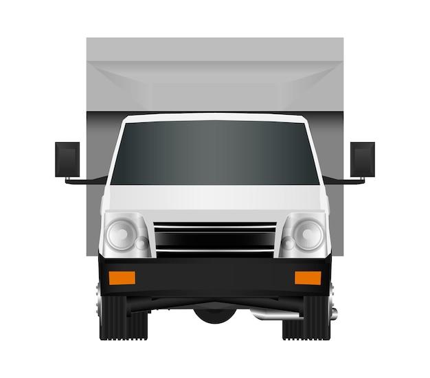 Szablon białej ciężarówki. furgonetka wektor ilustracja eps 10 na białym tle. miejska usługa dostawy samochodów dostawczych.