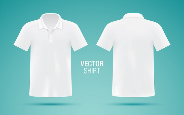 Szablon białej koszulki polo dla mężczyzn. realistyczne.