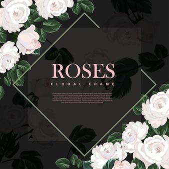 Szablon białej róży ramki.
