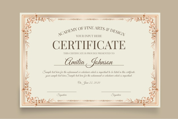 Szablon biały elegancki certyfikat