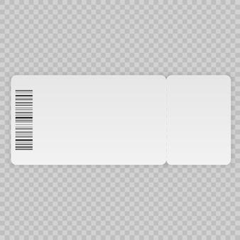 Szablon bilet na białym tle na przezroczystym tle