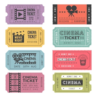 Szablon biletów do kina. projekty wektorowe różnych biletów do kina z ilustracjami kamer wideo i innych narzędzi