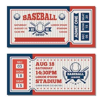 Szablon biletów na turnieju baseballowym