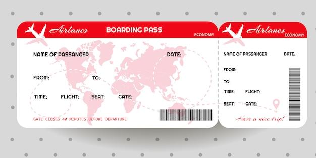 Szablon biletu karty pokładowej samolotu