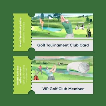 Szablon biletu klubowego z miłośnikiem golfa w stylu akwareli