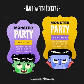 Szablon biletu na halloween z głowami