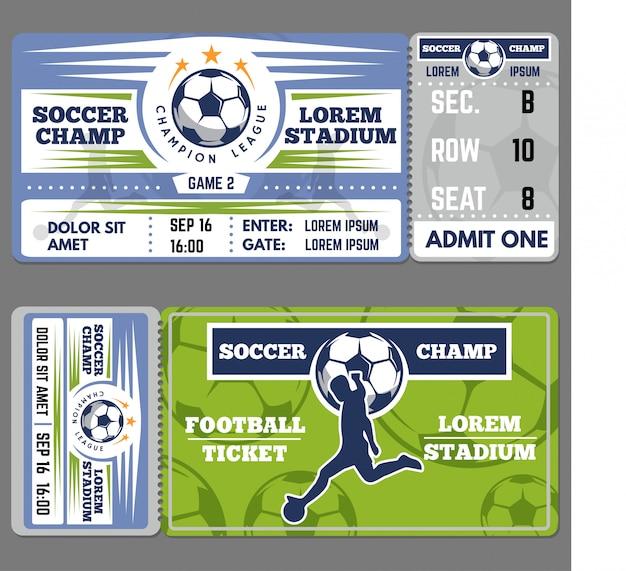 Szablon biletu na piłkę nożną lub piłkę nożną