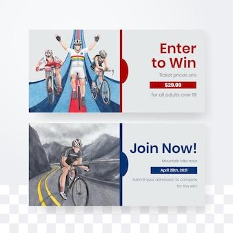 Szablon biletu z koncepcją światowego dnia roweru, styl przypominający akwarele