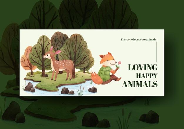 Szablon billboardu z ilustracji akwarela koncepcja szczęśliwych zwierząt