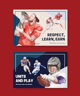Szablon billboardu z koncepcją sportową super miski do reklamy i marketingu ilustracji wektorowych akwarela.