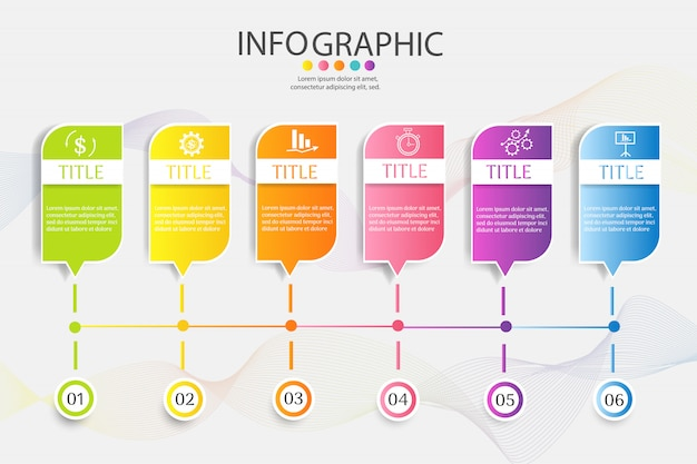 Szablon biznes 6 opcji lub kroków infographic element wykresu.