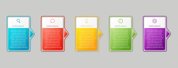 Szablon biznes infografiki. liczby 5 kroków na białym tle