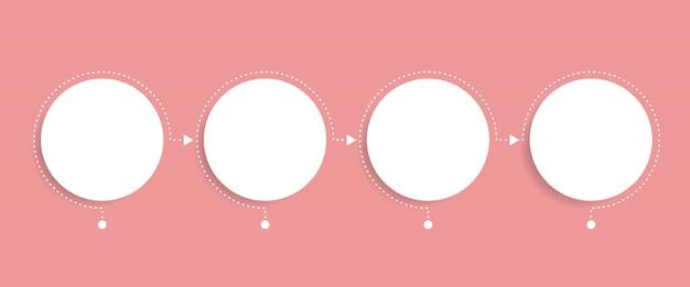 Szablon biznes infografiki. oś czasu z 4 strzałkami koła, czterema opcjami liczbowymi. element wektora