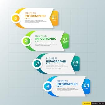 Szablon biznes infografiki z czterech kroków